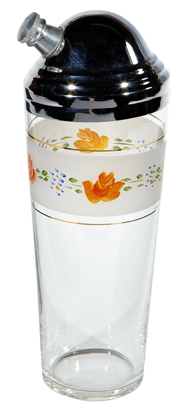 1960s Floral Cocktail Shaker