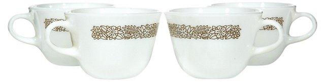 1960s Glass Coffee Cups, S/4