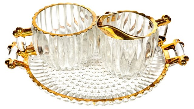 Gilt Accent Sugar & Creamer Set, S/3