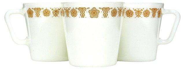 1960s Glass Mugs, S/4