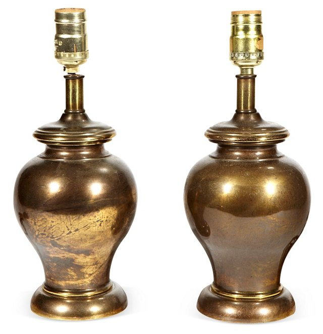 Dark Brass Lamps, Pair