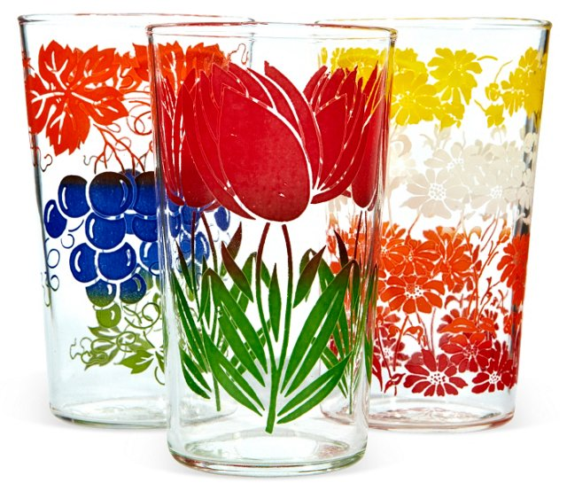 1950s Fruit & Floral Tumblers, S/3