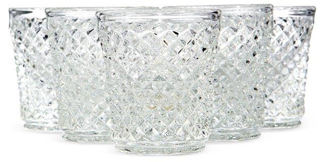 1960s Diamond-Point Shot Glasses, S/5
