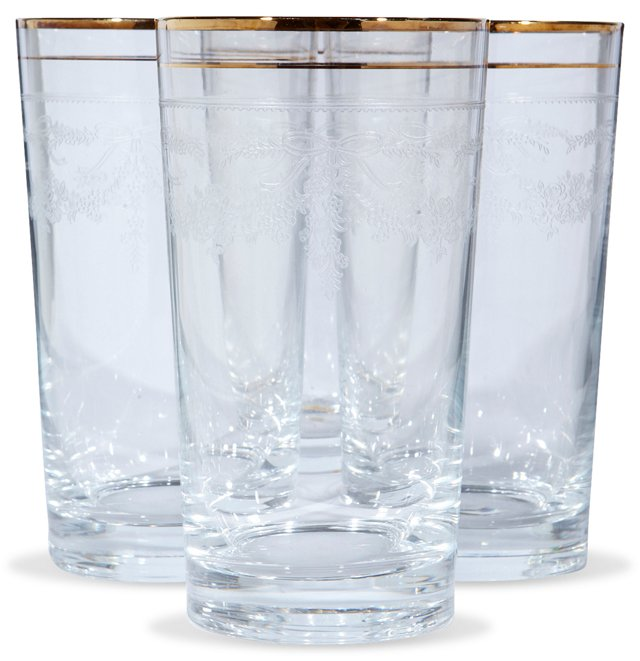 1960s Gilt & Floral Etched Tumblers, S/4