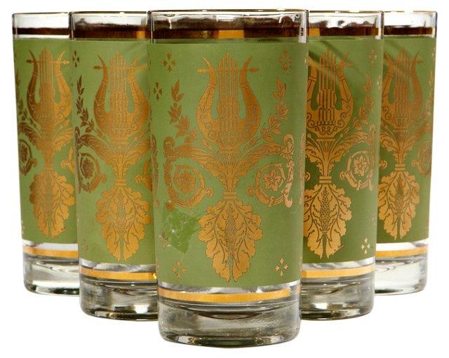 1960s Green & Gilt Glass Tumblers, S/7