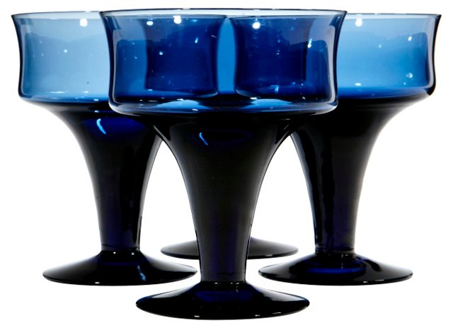 1960s Periwinkle Glass Coupes, S/4