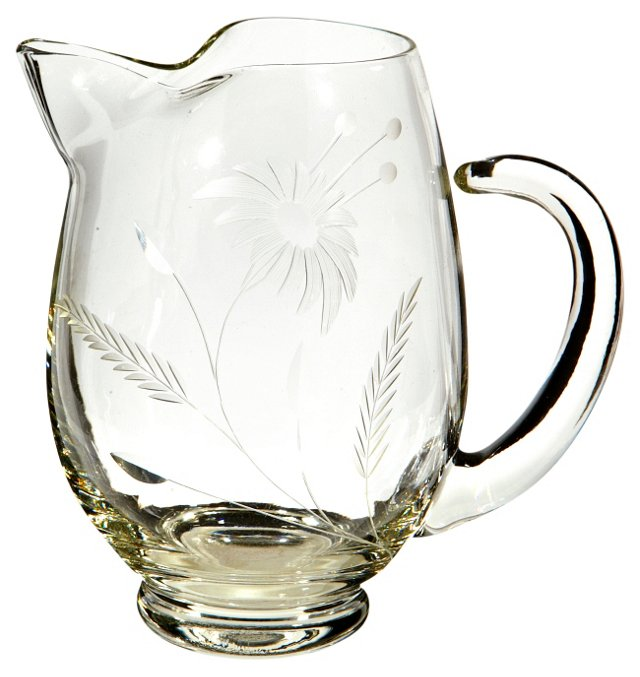 1950s Floral Glass Pitcher