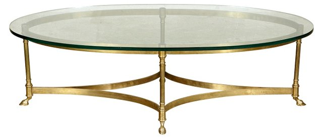 LaBarge Oval  Glass-Top Coffee Table