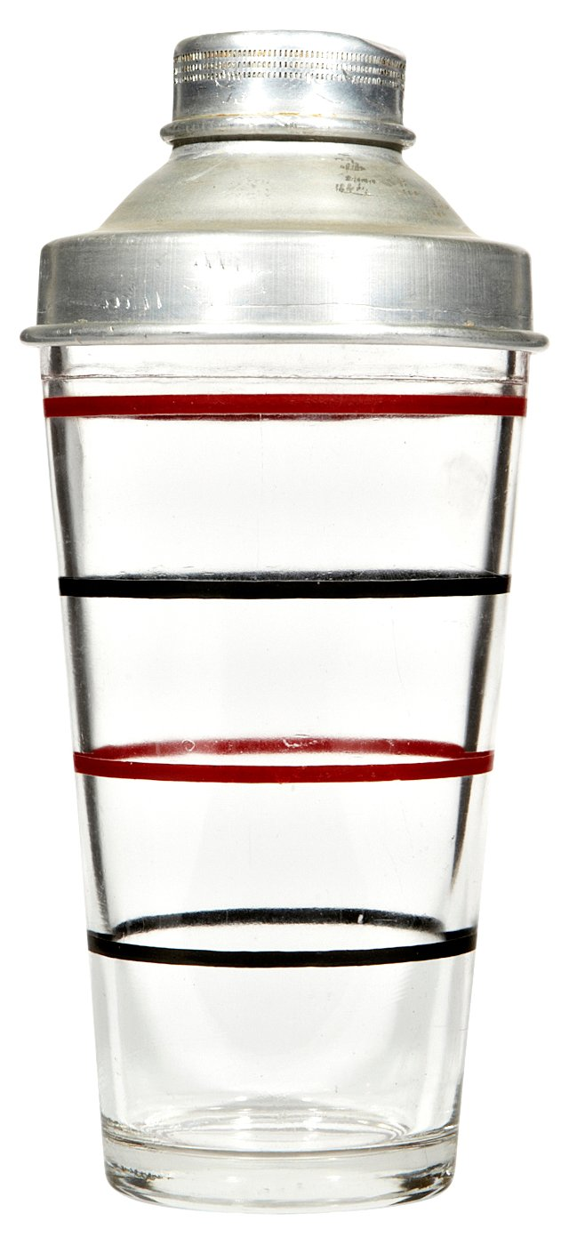1950s Striped Glass Shaker