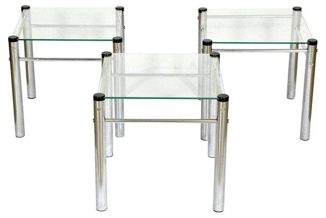 1970s Chrome & Glass Tables, S/3