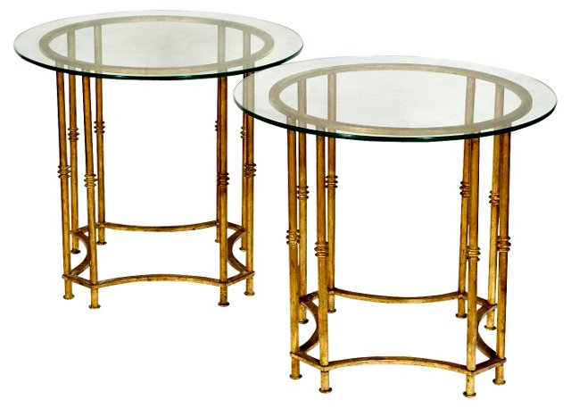 1960s  Gilt & Glass Top Tables, Pair