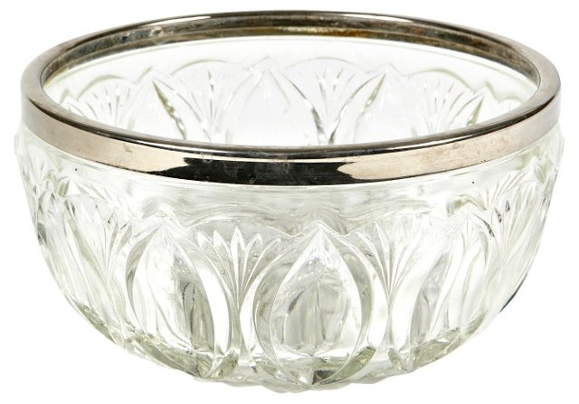 Silver-Rimmed Glass Bowl