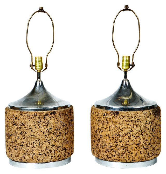 1960s Cork Lamps, Pair