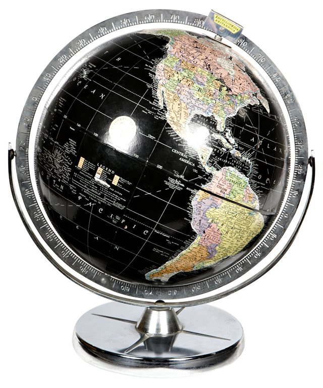 1960s Silver-Accented World Globe