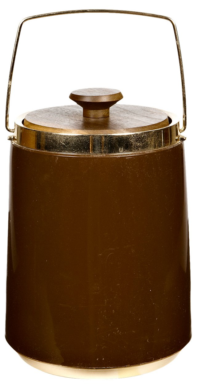 1960s Tall Brown Ice Bucket