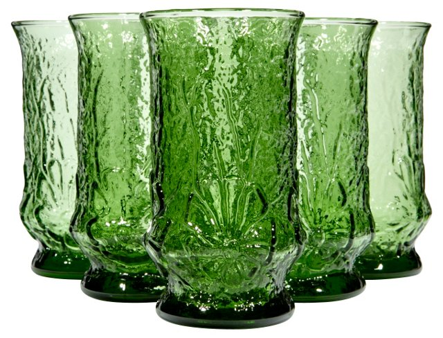 Green Floral Textured Tumblers, S/6