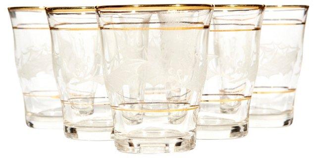Italian Leaf & Gilt-Banded Glasses, S/6