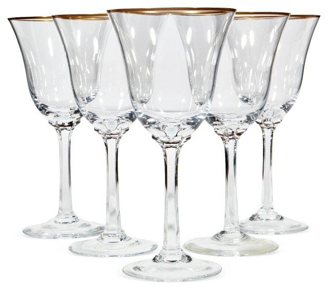 Gilt-Rimmed  Wine Stems, S/5