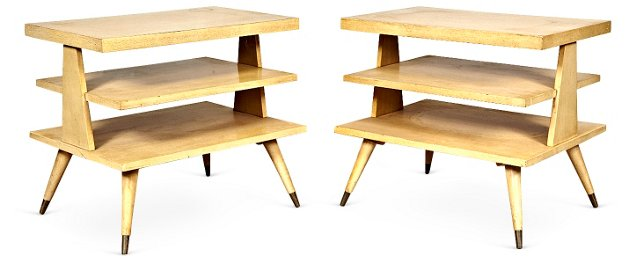 1960s Multi-Shelf Side Tables, Pair