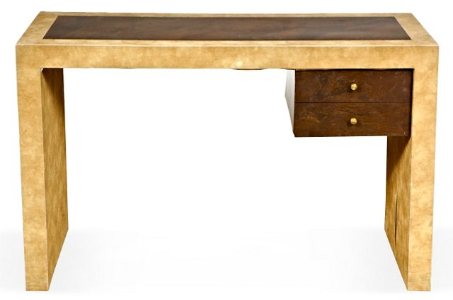 1970s Suede &  Burl Wood Desk