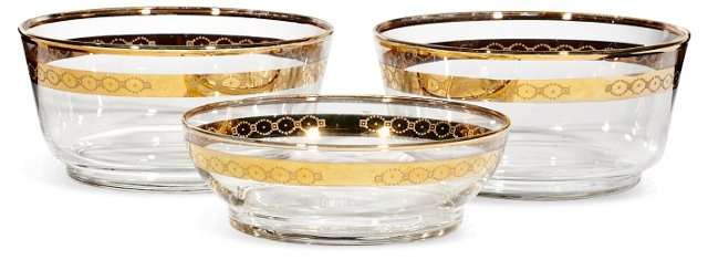1960s Gilt-Accented Bowls, S/3