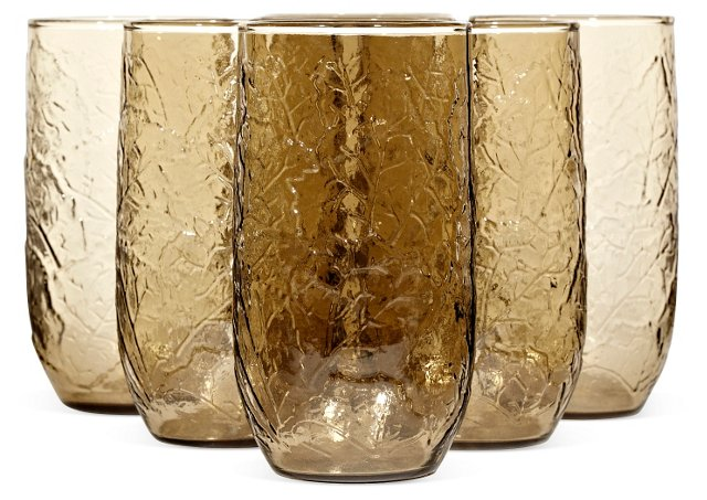 1970s Brown Textured Tumblers, S/7