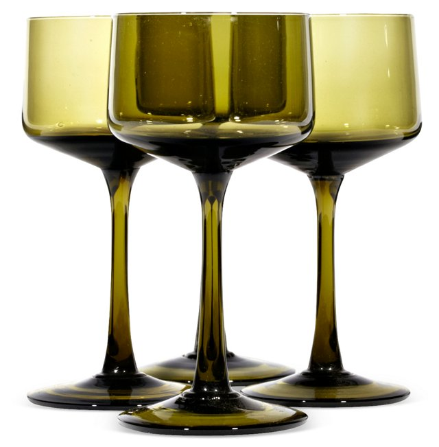 1960s Verde Glass Coupes, S/4
