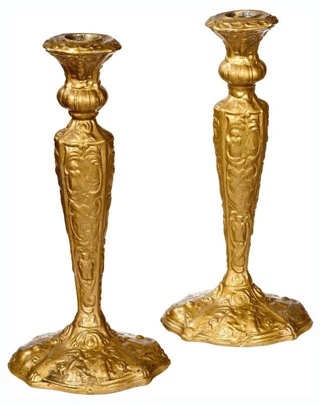 Gilt-Tall Metal Candleholders, Pair