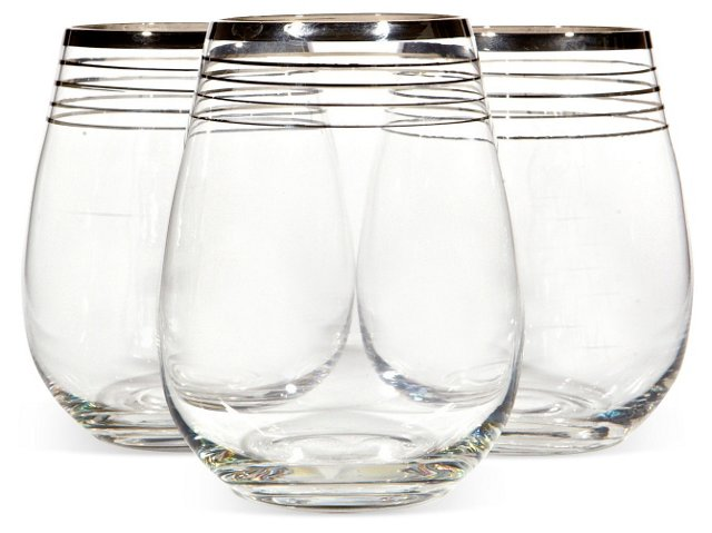 Silver-Banded Ovoid Tumblers, S/3