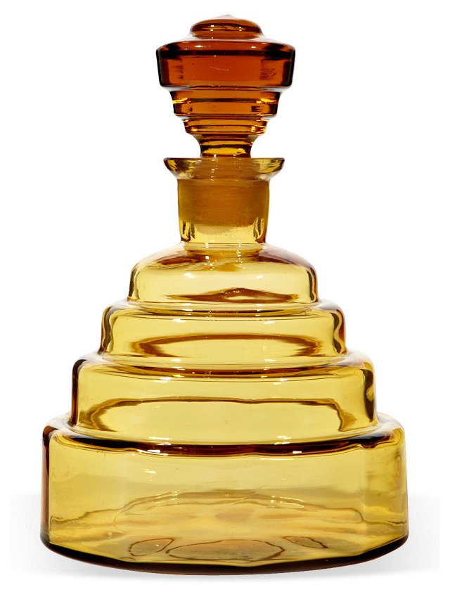 Art Deco-Style Amber Decanter
