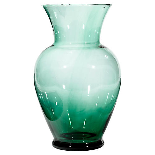 Tall Green Glass Vase