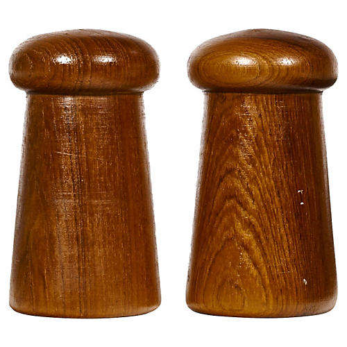 1960s Teak Salt & Pepper Shakers, Pair