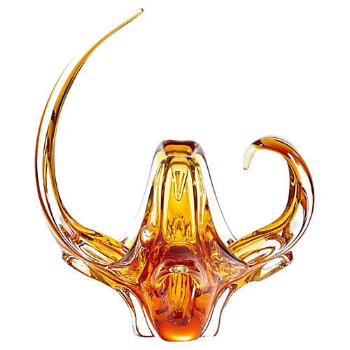 1960s Viking Glass Amber Center Vase
