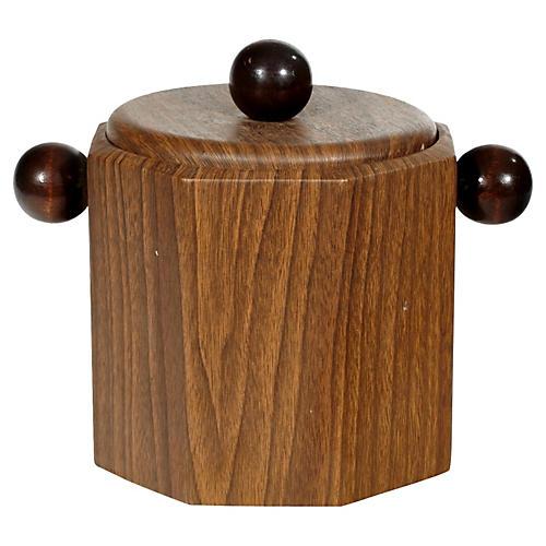 1960s Wood-Grain Ice Bucket
