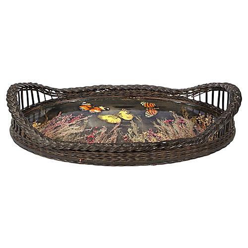 Butterfly-Designed Wicker Handled Tray