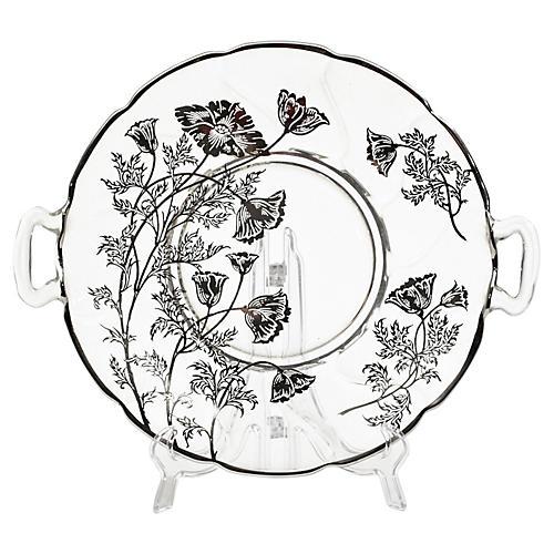 Floral Silver Overlay Handled Server