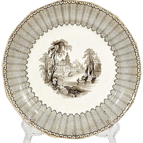 English Brown Ironstone Scenic Plate