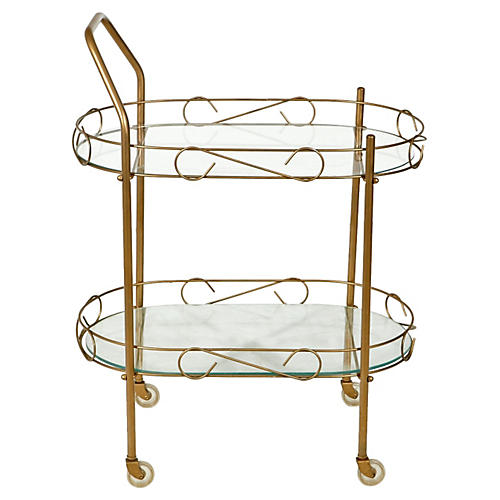 1960s Gilt Metal & Glass Rolling Cart