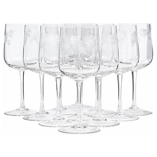 Art Deco Floral Etched Wine Stems, S/11