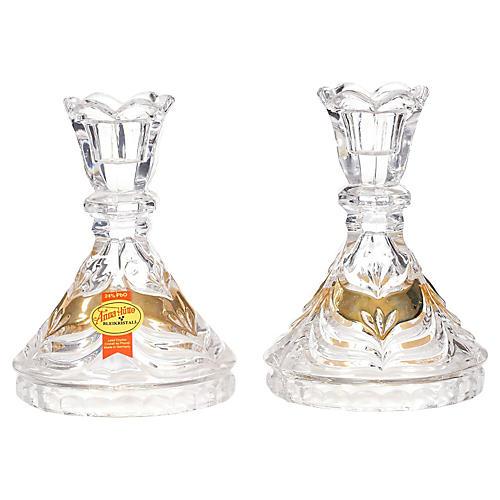German Crystal Candleholders, Pair