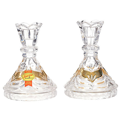 German Crystal Candleholders, Pair