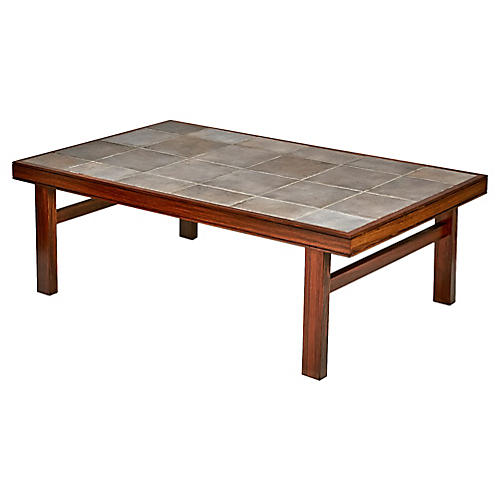 Danish Rosewood & Tile Coffee Table