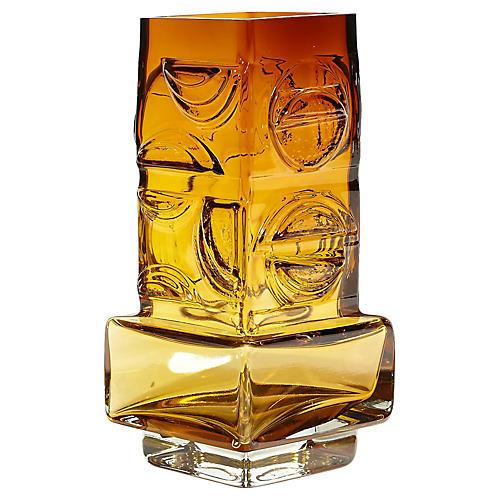 1970s Kumela Finland Amber Glass Vase