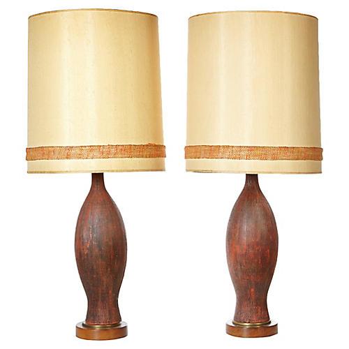 1960s Textured Ceramic Table Lamps, Pr