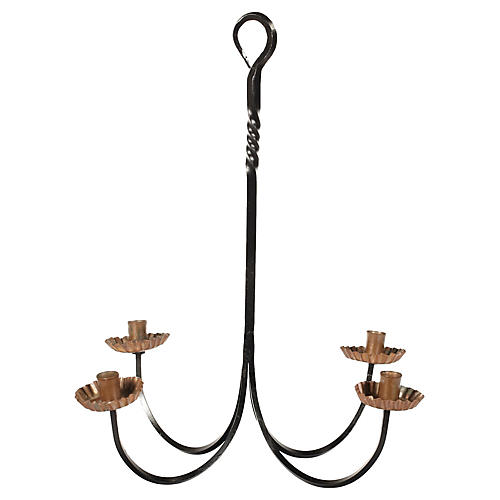 Iron and Copper Hanging Candleholder