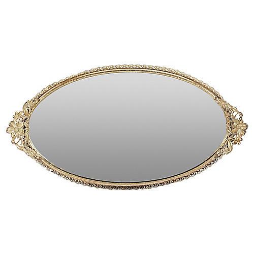 1960s Floral Gilt Oval Vanity Mirror