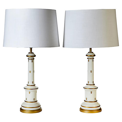 1960s Glass Gilt Accented Table Lamps,Pr