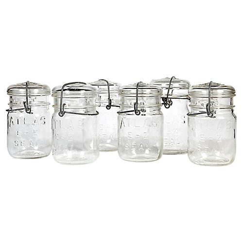 Small Kitchen Canning Jars, Set of 6