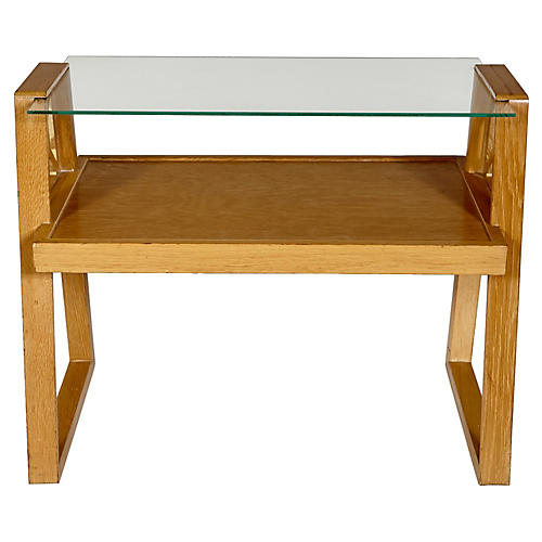 1950s Oak & Glass Top Side Table