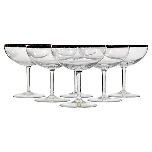 1950s German Silver-Rim Glass Coupes,S/6